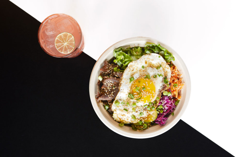 Bibimbap and a beverage